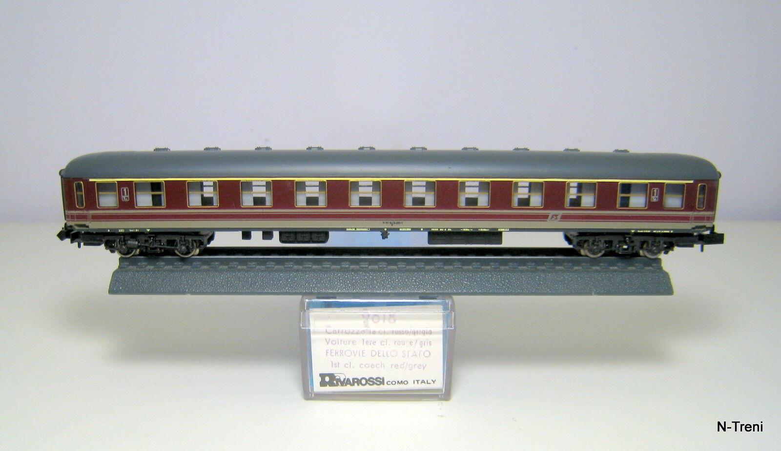 Rivarossi N 9618 - Carrozza passeggeri X 1 cl. FS, rosso fegato, logo sghembo