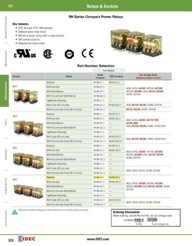 2 IDEC RH4B-U-AC120V General Purpose Relay 120v-AC Coil 4 DPDT contacts 10 A