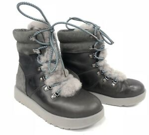 67c83e8b5f7 Details about UGG Australia VIKI WATERPROOF EXPOSED SHEARLING LACE UP Boot  1017493 Metal 7.5