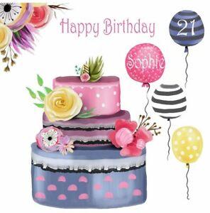 Excellent Personalised Birthday Cake Amp Balloons Birthday Card Any Name Personalised Birthday Cards Veneteletsinfo