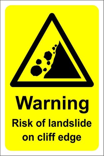 Warning risk of landslide on cliff edge Safety sign