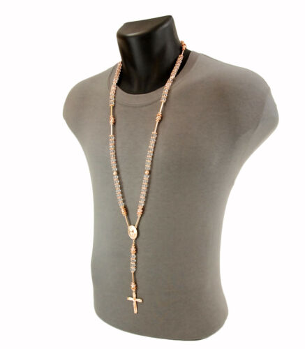 Hip Hop 8mm Clear Bead Rose Gold Rosary Pray Hand /& Jesus Cross Necklace PGCL