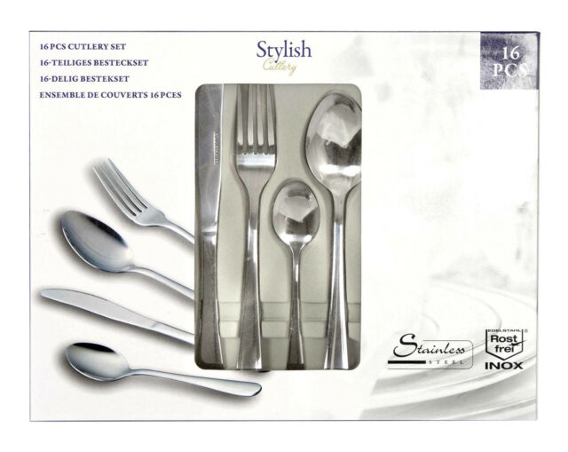 16 Piece Stylish Kitchen Stainless Steel Cutlery Set Dining Tableware Utensils