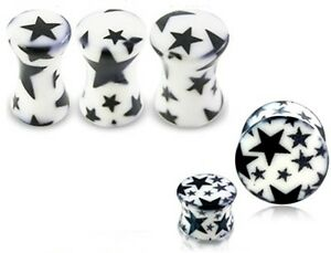 Nuevo Calidad Estrellas oreja tapón túnel de oreja Blanco Negro 4mm 5mm 6mm vendedor Reino Unido  </span>