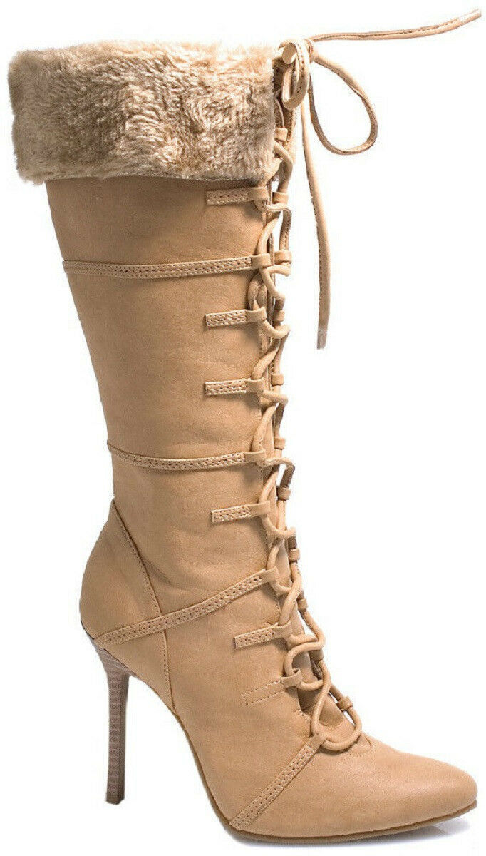 Knee High Lace-Up Faux Faux Faux Suede Boots w Fur Cuff 4  Heel Sz 5-12 NIB 433-VIKING 21eed4