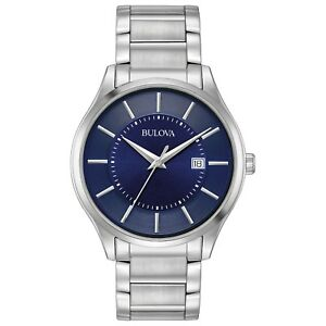 Bulova-Men-039-s-Quartz-Dark-Blue-Dial-Silver-Tone-Stainless-Steel-Bracelet-96B266