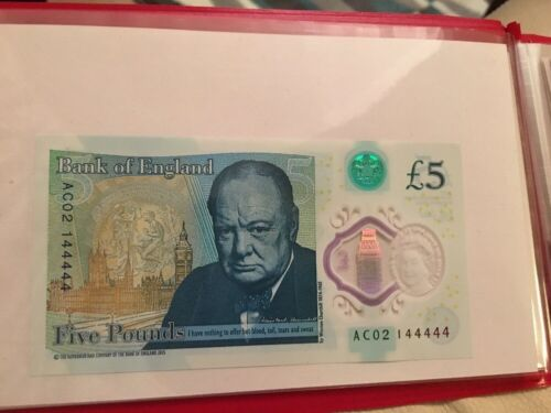 Bank of England UK NEW polymer 5 five pound note. 44444!