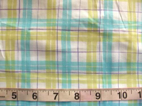 Aqua Blue /& Greenish Yellow 100/% Lightweight Cotton Fabric Plaid in White