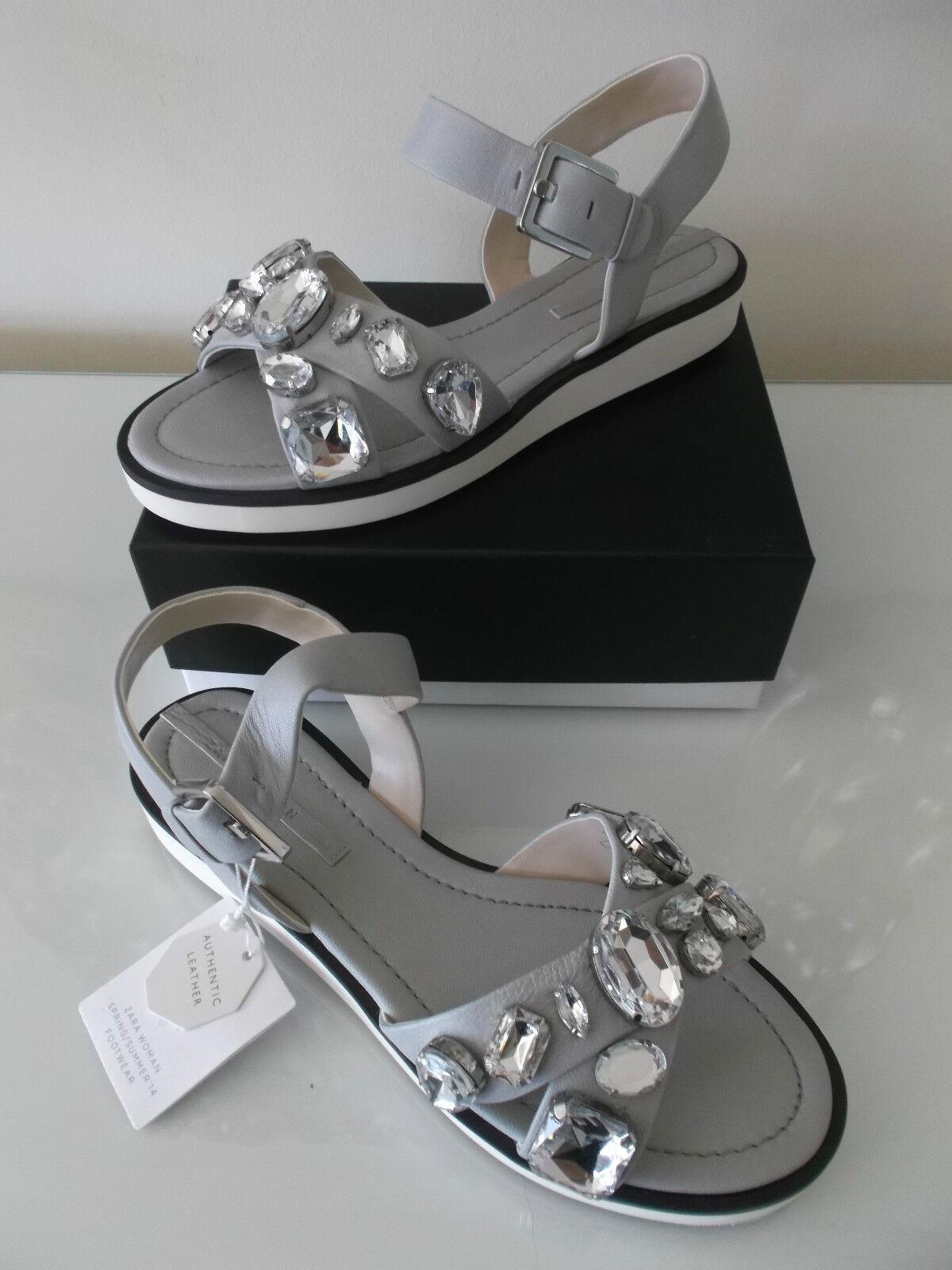 Zara gris Plata Cuero Cuero Cuero Sandalia Zapatos de cruce con Diamante Joyas 37 4 BNWT  alta calidad