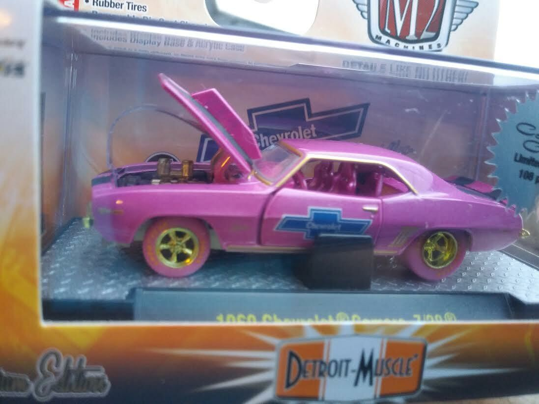 M2 1969 69 Chevy  Camaro Z 28 RS Super Chase 1 of 108 Made 1 64 Diecast rose or  plus d'ordre