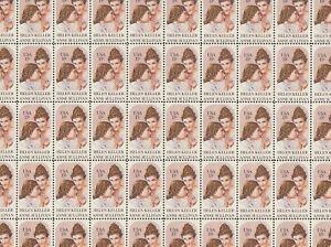 Helen Keller Mint Sheet of 50 Stamps, Scott #1824, MNH, Free Shipping! Nice!