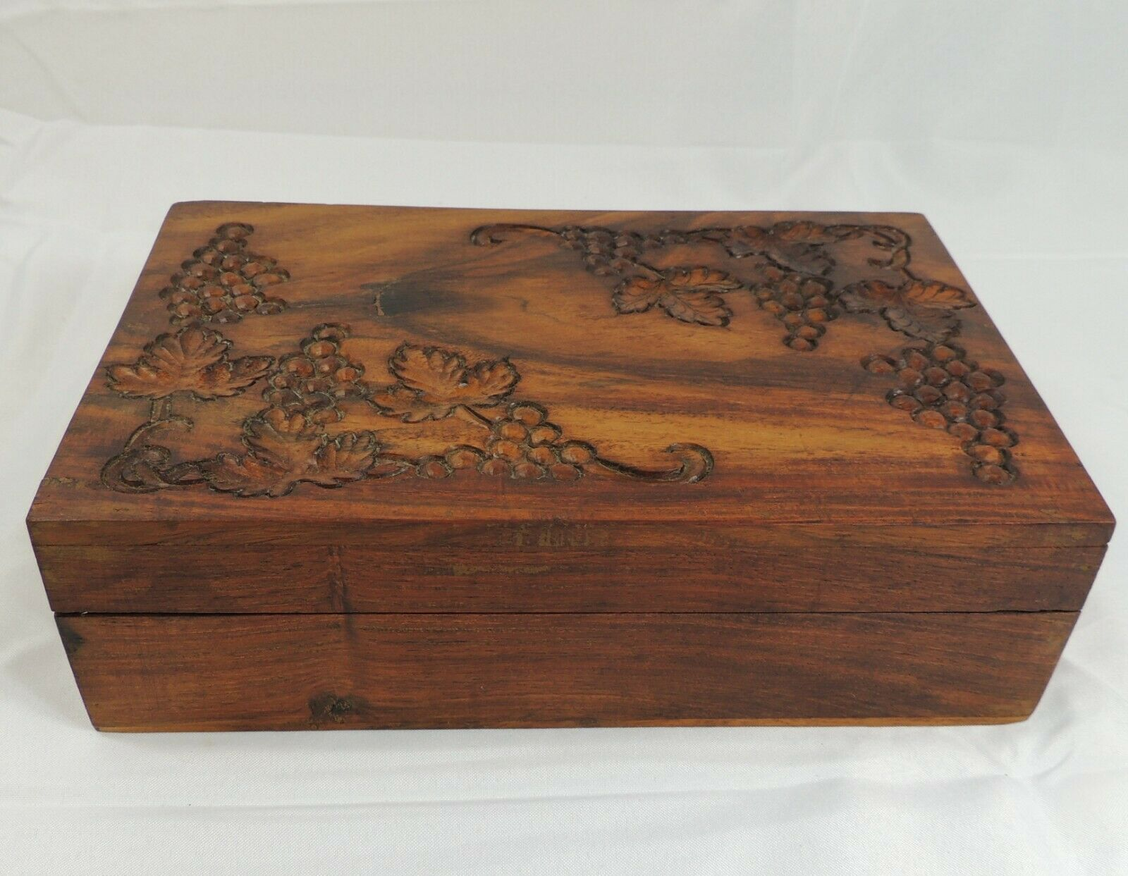 Grapevine & Grapes Carved Wood Hidden Hinged Storage Box Tea