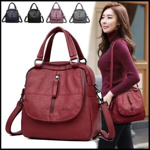 Women-039-s-Multifunctional-Leather-Handbag-Large-Capacity-Backpack-Totes-Purses
