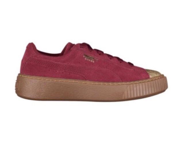 New Puma Suede Platform Glam Sneaker Team Gold Tibetan Red 364922 02 Girl  YOUTH 9f2668350