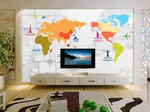 3D color World Map 87 Wall Paper Murals Wall Print Wall Wallpaper Mural AU Kyra