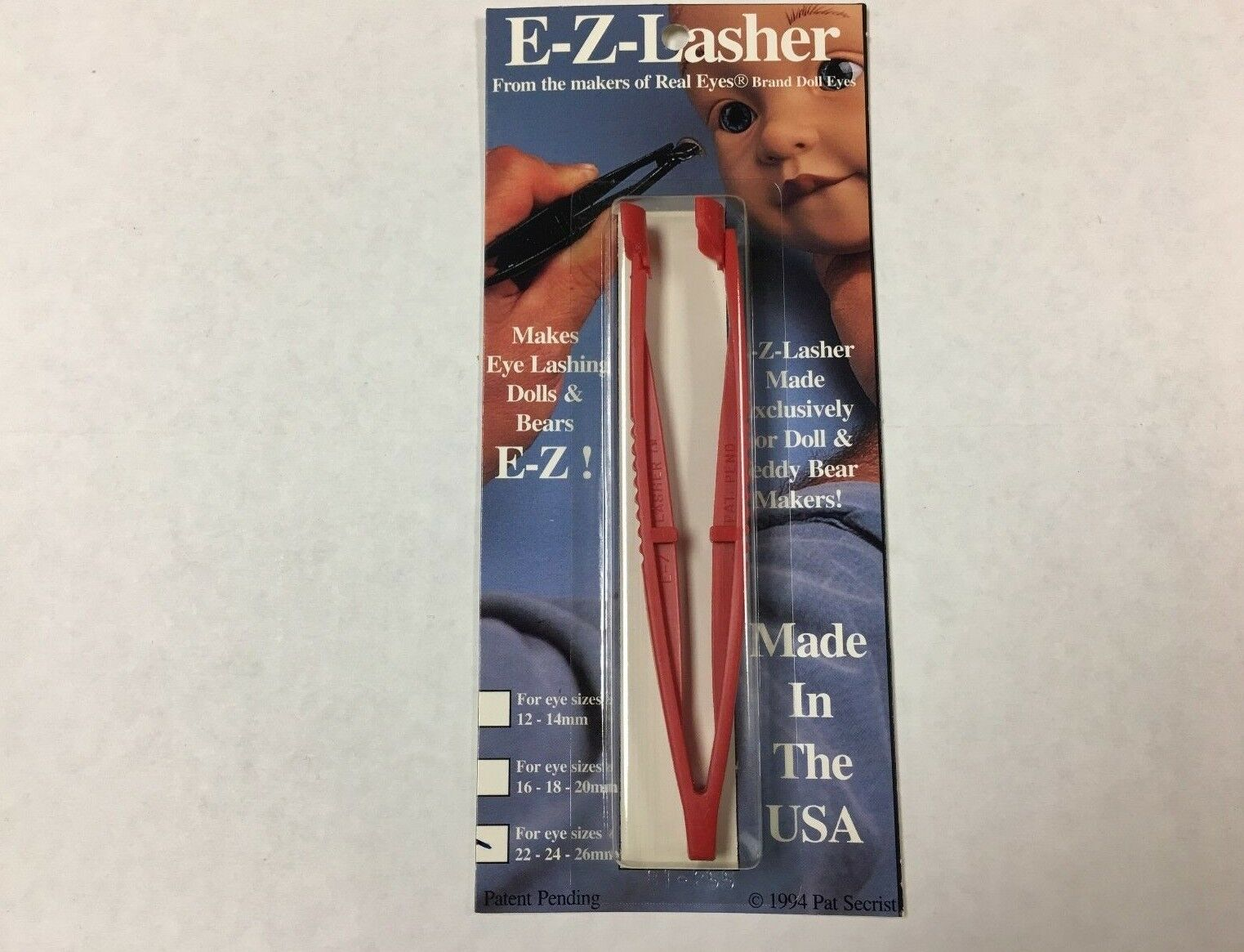 E-Z-Lasher tool for fitting small doll or teddy bear eyelashes