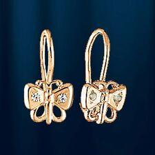 Rose Rotgold 585  Kinder-Ohrringe mit CZ. Schmetterling. Kids earrings!