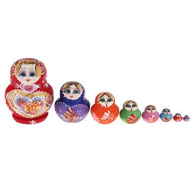 10Pcs Wooden Russian Nesting Dolls Traditional Matryoshka Owls Dolls Gifts