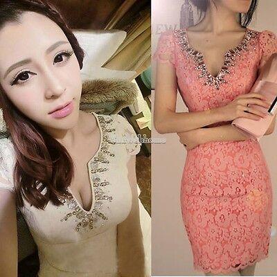 Korean Women's Temperament OL Elegance Sexy Clubwear Party Lace Mini Dress SH