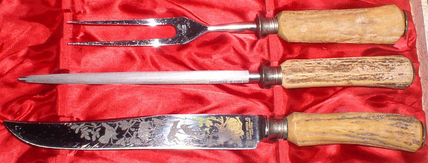 ANTON WINGEN JR. STAGHORN ETCHED GERMAN CARVING KNIFE & FORK IN BOX