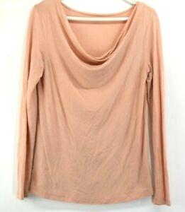 Ann-Taylor-LOFT-Women-039-s-M-Cowl-Neck-Long-Sleeve-T-Shirt-Tee-Top-Pastel-Peach
