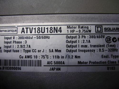 Telemecanique Square ATV18U18N4 Transistor Frequenzumrichter 2HP 1,5kW 380//460V