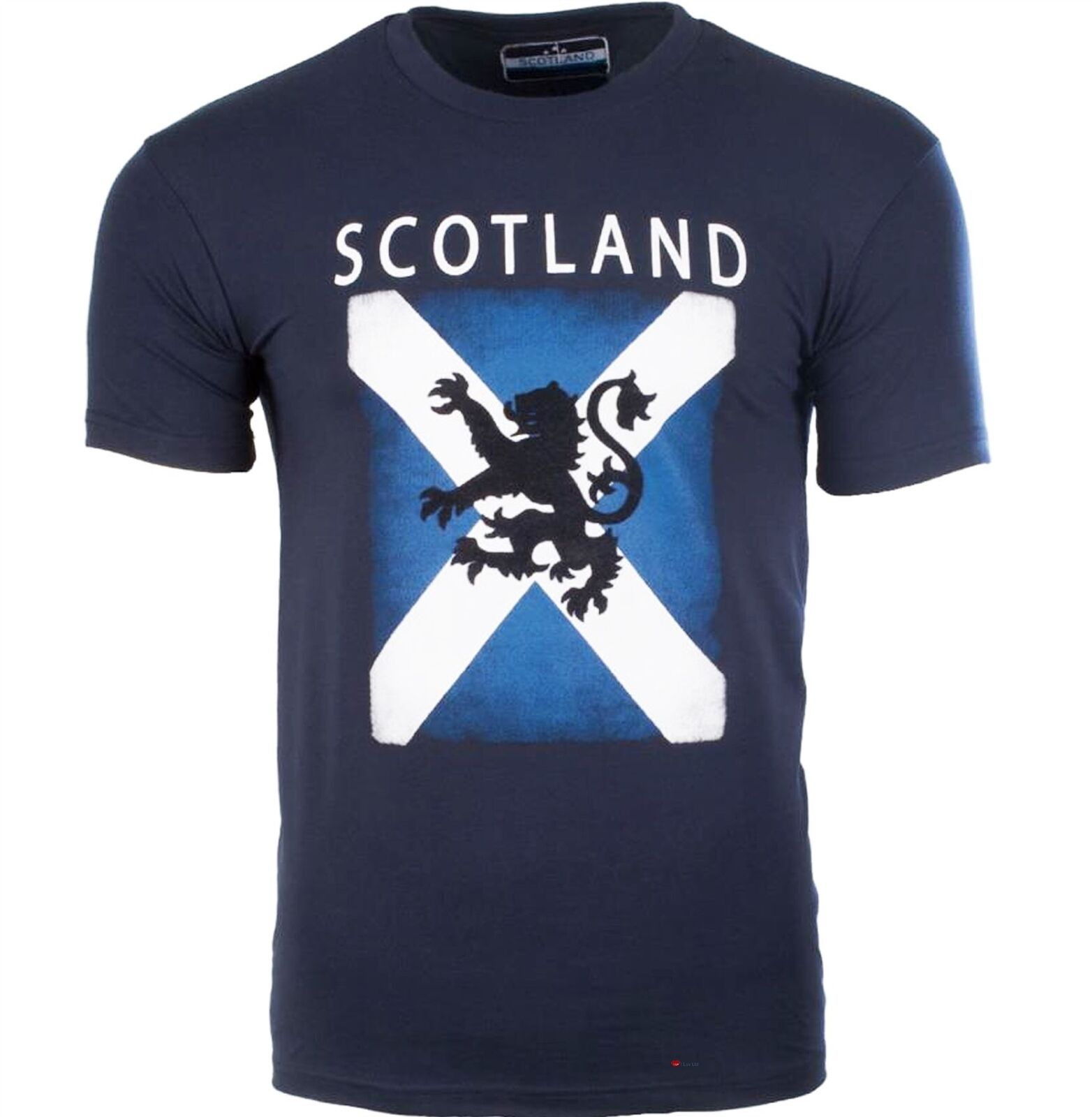Gents Scotland Design T-Shirt With Lion Rampant Design In Navy Size Small
