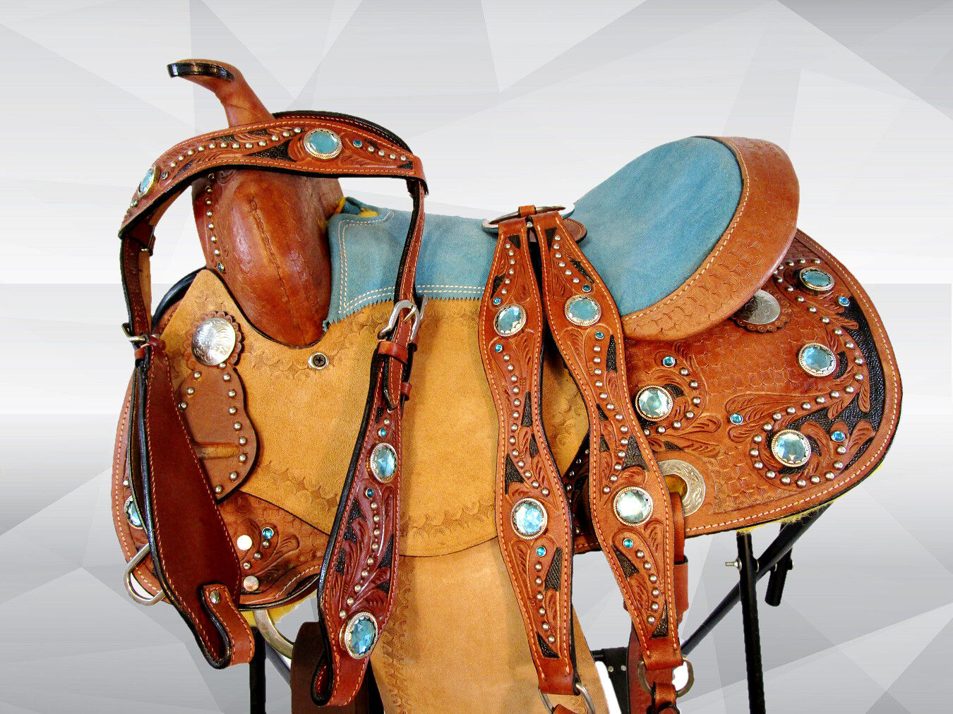 12 13 PREMIUM  LEATHER SHOW STAR TOOLED KIDS  LD BARREL YOUTH WESTERN SADDLE  support wholesale retail