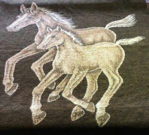 Vintage-Biederlack-Brown-Horse-Acrylic-Reversible-Mare-Foal-Blanket