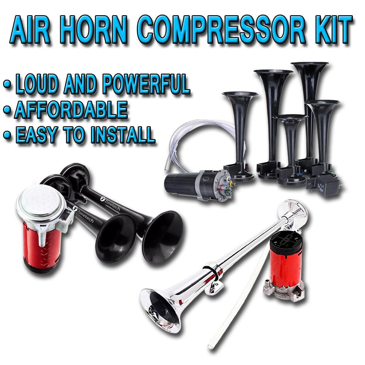 Zone Tech 12V 5 Trumpet Dixie Air Horn Compressor Super Loud 125db Premium Quality 5 Black Trumpet Air Horn