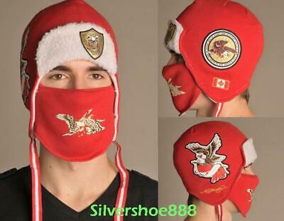 Nwt Ed Hardy Mens Canada Edition Winter Ski Hat Bomber Removable Facemask Ebay