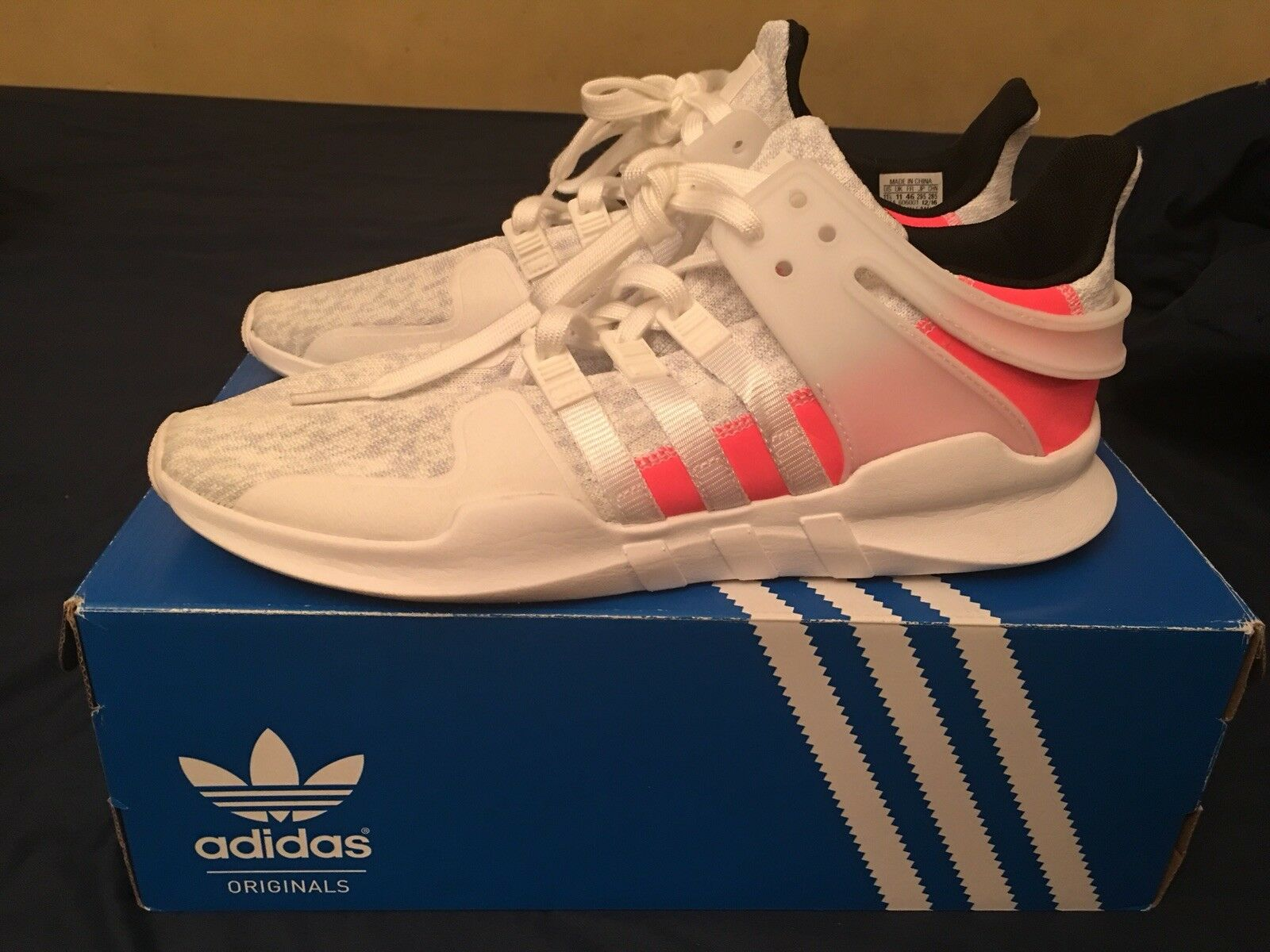 Adidas Men's 11.5 Shoe EQT Support ADV Running Shoe 11.5 White/Pink BB2791 32016d