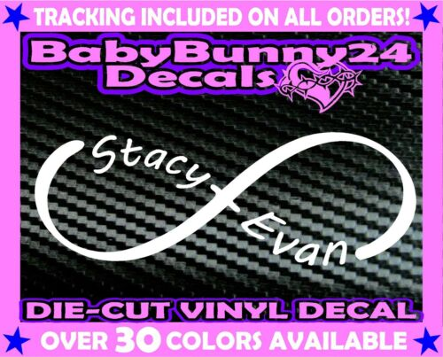 Custom Personalized name couple his hers infinity vinyl DECAL Sticker Car Truck
