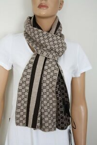 ab566e6dced7 Gucci Scarf 438253 Unisex Gg Pattern 11 13 16x78 11 16in Wool Brown ...