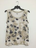 Basic Editions Floral Beige Navy Striped Back Blouse Tank Top Shirt Tee Xl