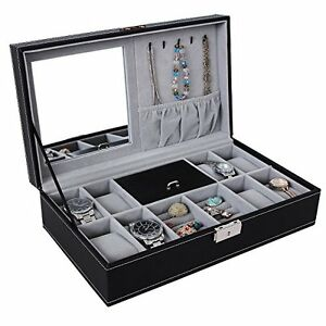 Black Leather Jewelry Box Watch Organizer Storage Case with Lock & Mirror - New