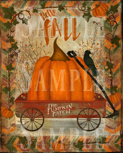 Primitive Autumn Hello Fall Pumpkin Red Wagon Crow Bittersweet Laser Print 8x10