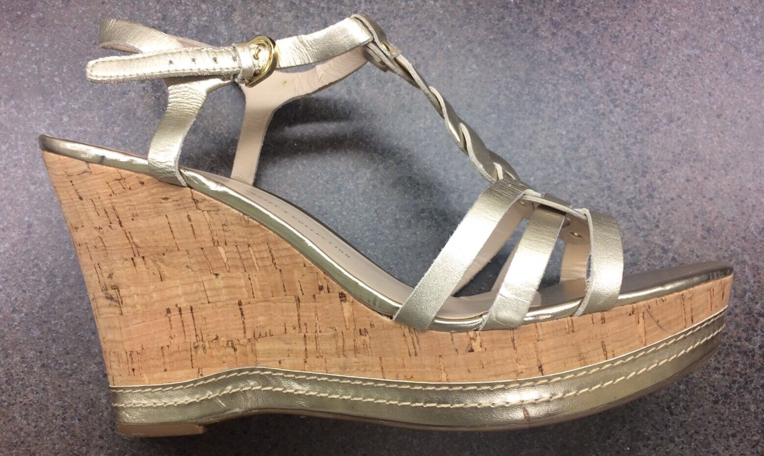 Franco Sarto Gold Leather Wedge 11M Sandals  Suzy Size 11M Wedge 298817
