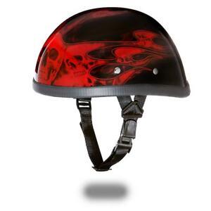403fefe4 New Daytona Helmets Skull Cap EAGLE-W/ FLAMES RED Bike Motorcycle ...