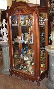 Rare French Carved Walnut Beveled Glass China Cabinet Vitrine Louis ...