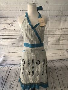 Details About Nwt Sur La Table Vintage Inspired Kitchen Apron Stripe Polka Dot Gray Blue Cutlr