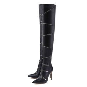 Stylish-Women-Thigh-High-Boots-Pointy-Toe-Zipper-Decor-High-Heels-Shoes-Clubwear