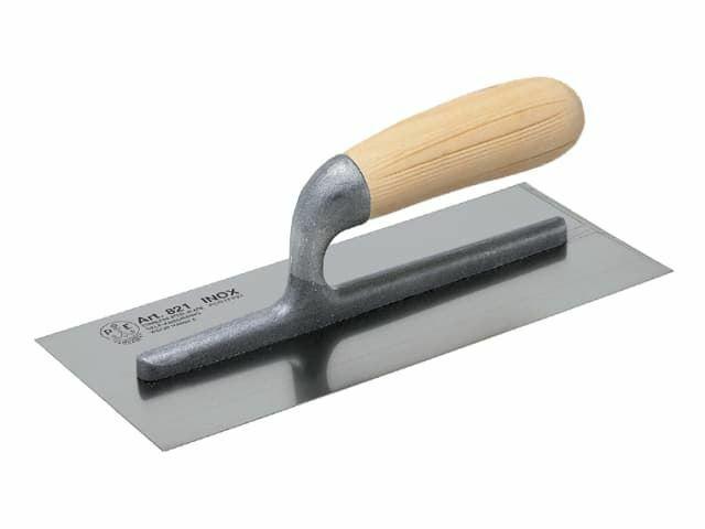 Truelle de finition pour plâtrier Manche en bois en acier inoxydable 11x4.3 4in