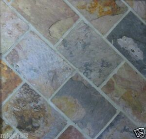 Image Is Loading Slate Tiles Charcoal Multicolour 305x205mm Ing By The