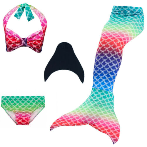 Kids Girls Swimwear Swimmable Mermaid Tail Bikini Costume Beachwear Monofin Sets