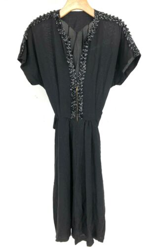 vtg 20's 30's 40's Dress Sequins Black Silk Crepe