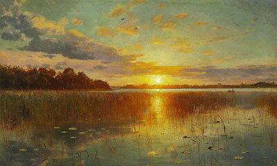 Art Hd Print Sunrise Lake Landscape painting Printed on Canvas 24X40 inches