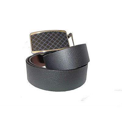 Genuine Leather Formal High Quality Metal Auto Lock Buckle with Reversible Belt