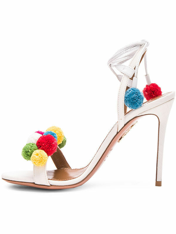 Hot Femme Talon Haut Lacets Cheville Sangle Pompon Sandal Stiletto Roma Tassel chaussures