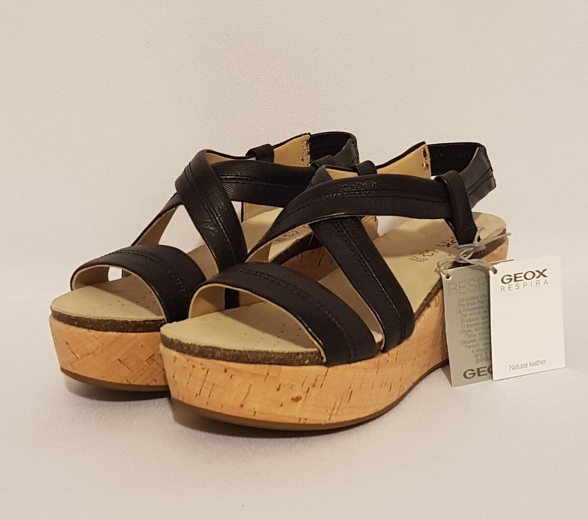 GEOX RESPIRA   BLACK GENUINE LEATHER WEDGE SANDALS SUMMER SUMMER SANDALS Schuhe LADIES bb7155